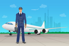 Pilot im einheitlichen nahen Flugzeug am Flughafen Auch im corel abgehobenen Betrag stock abbildung