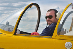 Pilot In The Cockpit Stock Photography