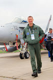 A pilot at International Aerospace Salon MAKS-2013 Royalty Free Stock Images