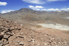 Pilot, Jałowy powulkaniczny krajobraz Atacama pustynia, Chile Zdjęcia Stock