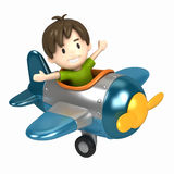 Pilot kid. 3D render of a kid riding on an airplane Royalty Free Stock Image
