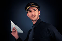 Pilot Launching Paper Airplane Royalty Free Stock Photography