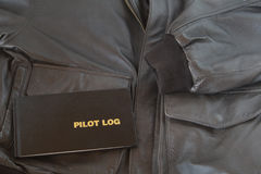 Pilot Log A4 Leather Jacket Royalty Free Stock Photos