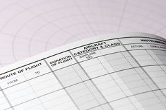 Pilot logbook blank page Stock Photography