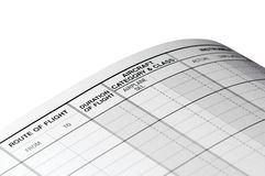 Pilot logbook blank page Royalty Free Stock Photography