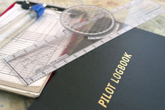 Pilot logbook and tools Royalty Free Stock Photo