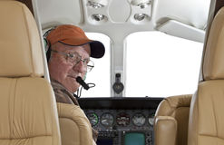 Pilot looking at passenger compartment Royalty Free Stock Photo