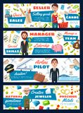 Pilot and manager, jeweler and seller royalty free illustration