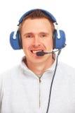 Pilot mit Kopfhörer Stockfotografie