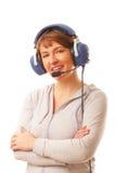 Pilot mit Kopfhörer Stockfotos
