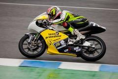 Pilot of motorcycling of 125cc. JEREZ DE LA FRONTERA, SPAIN - NOV 20: Mattia Tarozzi pilot of motorcycling of 125cc in the Spanish championship of velocity (CEV Royalty Free Stock Images