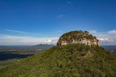 Pilot Mountain Knob. Big Pinnacle of Pilot Mountain in North Carolina, USA with blue skies and green land stock image