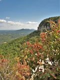 Pilot Mountain State Park Pinnacle. A rocky ledge overlooks the pinnacle under blue skies at Pilot Mountain State Park in North Carolina. Sauratown Mountains are royalty free stock photo