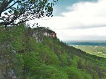 Pilot Mountain State Park. A rocky ledge overlooks the pinnacle and surrounding valley at Pilot Mountain State Park in North Carolina royalty free stock images