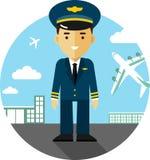 Pilot na lotniskowym tle Zdjęcia Stock