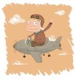 Pilot na małym samolocie Zdjęcia Royalty Free