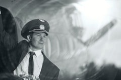 Pilot near vintage aircraft Royalty Free Stock Photo