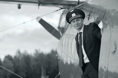 Pilot near vintage aircraft Royalty Free Stock Image