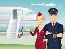 Pilot och flygvärdinna av kommersiella flygbolag med bakgrunden av flygplanet stock illustrationer