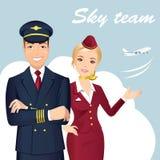 Pilot och flygvärdinna av kommersiella flygbolag med flygplanet på bakgrunden vektor illustrationer