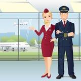 Pilot och flygvärdinnor av kommersiella flygbolag i flygplats stock illustrationer