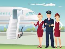 Pilot och flygvärdinnor av kommersiella flygbolag med bakgrunden av flygplanet vektor illustrationer