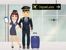 Pilot och lyxfnask i flygplatsen royaltyfri illustrationer