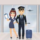 Pilot och lyxfnask i flygplatsen vektor illustrationer