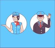 Pilot oder Verwalter und Stewardess Icons lizenzfreie abbildung