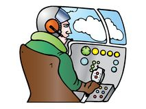 Pilot operator with headset Stock Photo