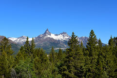 Pilot Peak and Index Peak. Are prominent mountain peaks in the Absaroka Range, Wyoming. The peak is seen from the Beartooth Highway Stock Image