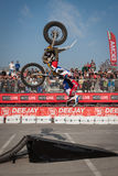 Pilot performs a backflip at EICMA 2013 in Milan, Italy Royalty Free Stock Photo