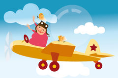 Pilot in plane with birds Stock Images