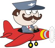 Pilot in plane cartoon. Cartoon of smiling man in uniform flying red plane Stock Image