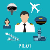 Pilot profession and aircraft icons Stock Image