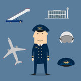 Pilot profession and aviation icons Stock Photography