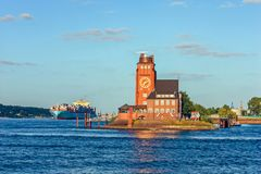 Pilot radar station tower harbor on river Elbe, Hamburg Germany. stock photo
