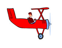 Pilot and the red plane (vector) Stock Photo
