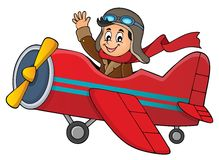 Pilot in retro airplane theme image 1 Stock Images