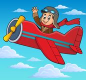 Pilot in retro airplane theme image 3 Royalty Free Stock Image