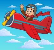 Pilot in Retro- Flugzeugthemabild 3 lizenzfreie abbildung