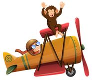 A pilot riding the plane with monkey stock images