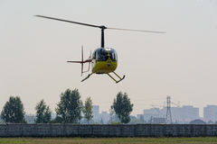 Pilot of Robinson R44 Raven on airshow Royalty Free Stock Images