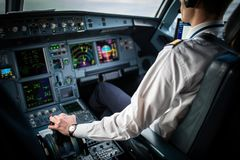 Pilot`s hand accelerating on the throttle royalty free stock photo