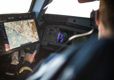 Pilot`s hand accelerating on the throttle royalty free stock photography