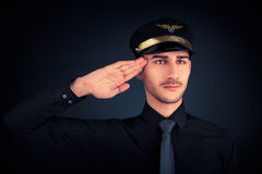 Pilot Salute Low Key Portrait Stock Photography