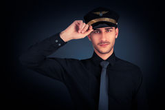 Pilot Salute Low Key Portrait Royalty Free Stock Photos