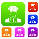 Pilot set collection. Pilot set icon in different colors isolated vector illustration. Premium collection Stock Image