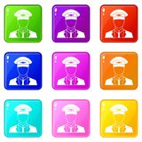 Pilot set 9. Pilot icons of 9 color set isolated vector illustration vector illustration