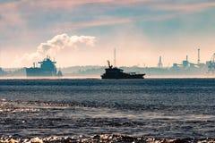 Pilot ship silhouette Royalty Free Stock Photo